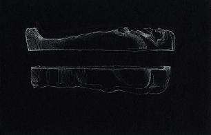 Mummy Case-White Pencil on Black Paper-2000